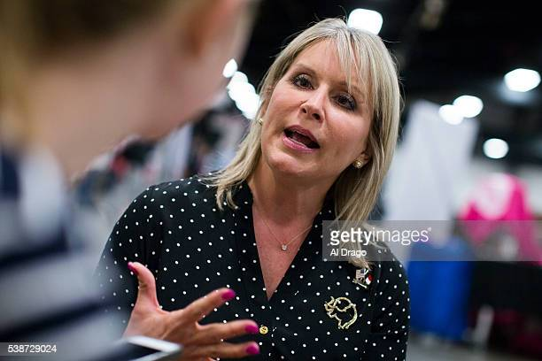 STATES MARCH 8 Rep Renee Ellmers RNC speaks during an interview at the Wake County Republican Party 2016 County Convention at the NC State...