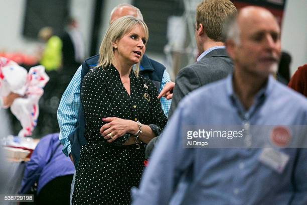 Rep Renee Ellmers RNC speaks with an attendee at the Wake County Republican Party 2016 County Convention at the NC State Fairgrounds in Raleigh NC...