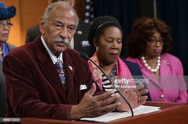 Rep Rep John Conyers joins other House Democrats at a press conference calling for a Senate vote on the nomination of Loretta Lynch to be the next...