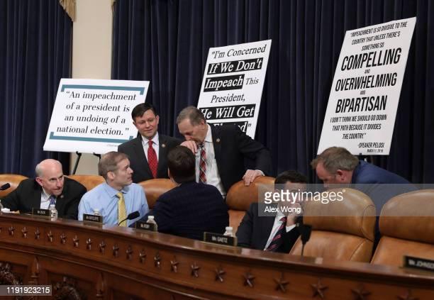Rep Rep Louie Gohmert Rep Jim Jordan Rep Matt Gaetz Rep Mike Johnson Rep Andy Biggs and Rep John Ratcliffe confer during a break as constitutional...