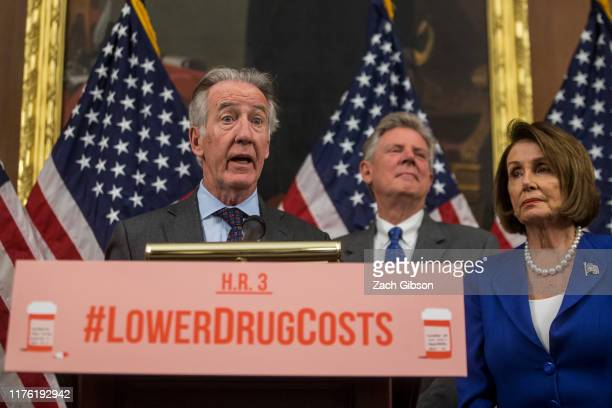 Rep Richard Neal speaks as Rep Frank Pallone and House Speaker Nancy Pelosi look on during a news conference discussing HR 3 the Lower Drug Costs Now...