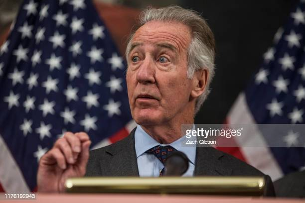 Rep Richard Neal speaks during a news conference discussing HR 3 the Lower Drug Costs Now Act on Capitol Hill on October 16 2019 in Washington DC The...