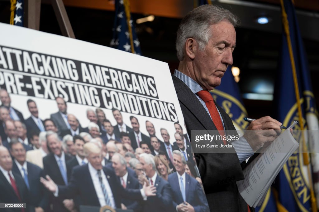 Rep. Richard Neal (D-MA), takes notes during a news conference held by House Democrats condemning the Trump Administration's targeting of the Affordable Care Act's pre-existing condition, in the US Capitol on June 13, 2018 in Washington, DC.