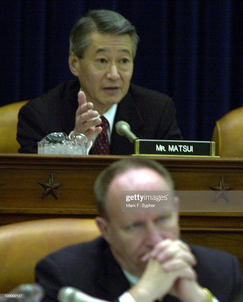 Rep. Robert Matsui (D-CA) talks at a Ways and Means Committee Hearing on Retirement Security and Defined Contribution Plans hearing on Tuesday in the Longworth House Office Building, after someone made a joke about the Enron scandal, calling it the 'e word.'