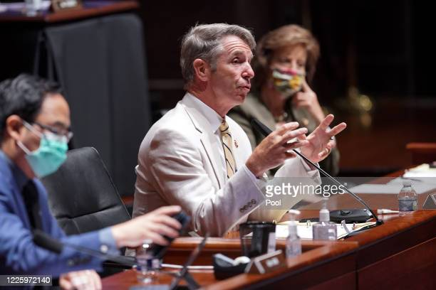 Rep Robert Wittman questions Secretary of Defense Mark Esper and Joint Chiefs Chairman Gen Mark Milley during a House Armed Services Committee...