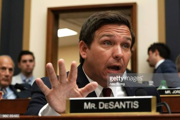S Rep Ron DeSantis speaks during a hearing before the House Judiciary Committee June 28 2018 on Capitol Hill in Washington DC While scheduled to...