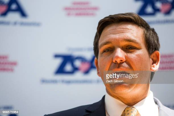 Rep Ron DeSantis speaks during an event hosted by the Zionist Organization of America on Capitol Hill on May 9 2018 in Washington DC
