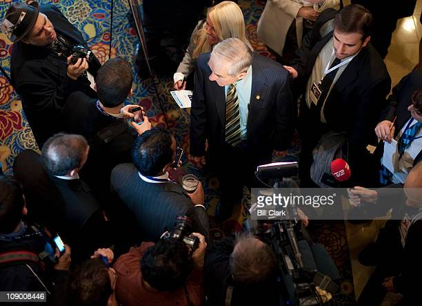 Rep. Ron Paul, R-Texas, arrives to deliver his speech to the CPAC Conference held by the American Conservative Union in Washington on Thursday, Feb....