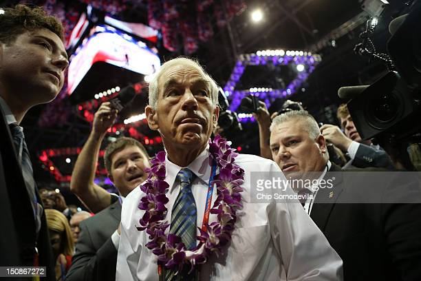S Rep Ron Paul walks the arena floor during the second day of the Republican National Convention at the Tampa Bay Times Forum on August 28 2012 in...