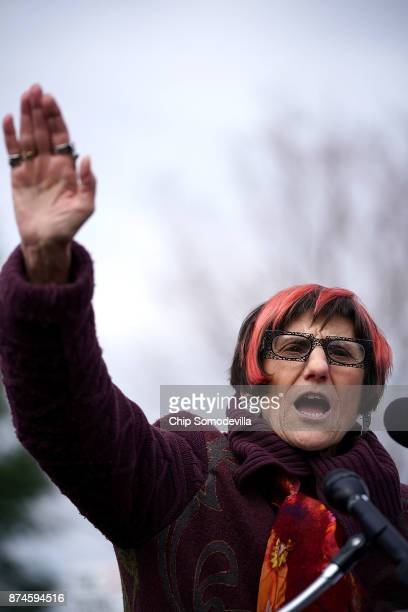 Rep Rosa DeLauro addresses a rally against the proposed Republican tax reform legislation on the east side of the US Capitol November 15 2017 in...