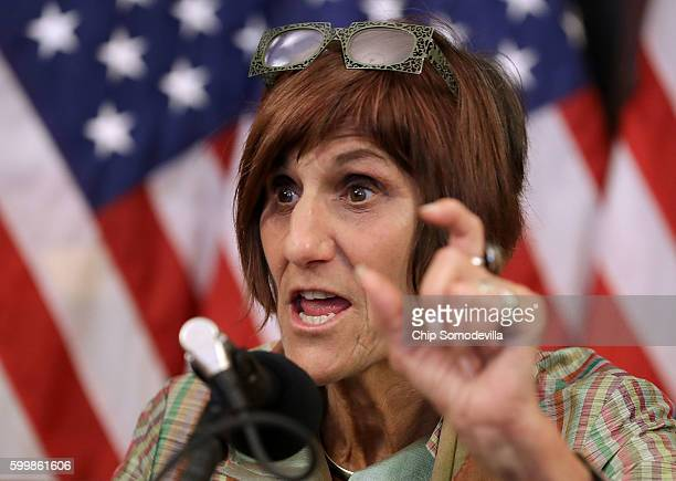 Rep Rosa DeLauro and fellow Democratic members of the House hold a news conference to call on Republicans to fund programs to combat the spread of...