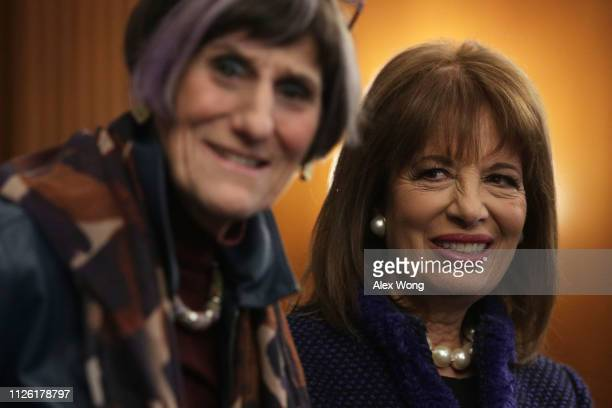 S Rep Rosa DeLauro and Rep Jackie Speier listen during a news conference at the US Capitol January 30 2019 in Washington DC House Democrats held a...