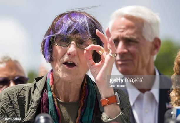 Rep Rosa DeLauro Chair of the House Appropriations Subcommittee on Labor Health and Human Services and Education speaks to the media following an...