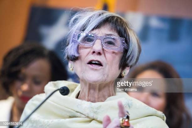 Rep Rosa DeLauro DConn conducts a Democratic Women's Working Group news conference before a photo of House Democrats in the Capitol Visitor Center...
