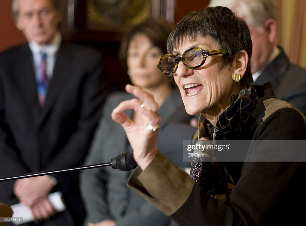 Rep. Rosa DeLauro, D-Conn, participates in the Speaker's news conference on Monday, Feb. 23, 2009, to discuss their recent Congressional trip to Italy and Afghanistan