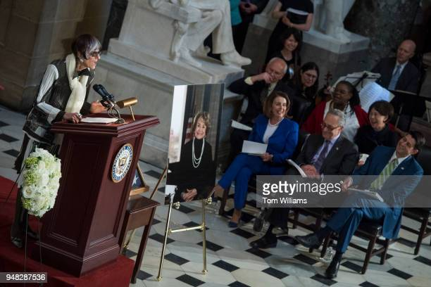 Rep Rosa DeLauro DConn speaks during a memorial service for the late Rep Louise Slaughter DNY in the Capitol's Statuary Hall on April 18 2018...