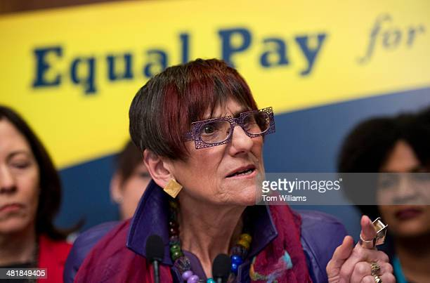Rep Rosa DeLauro DConn speaks during a news conference in the Capitol to urge the Senate to pass the Paycheck Fairness Act which will help close the...
