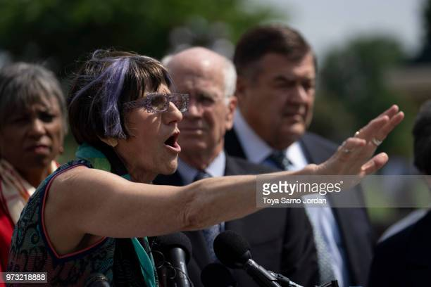 Rep Rosa DeLauro gestures during a news conference on immigration to condemn the Trump Administration's 'zero tolerance' immigration policy outside...