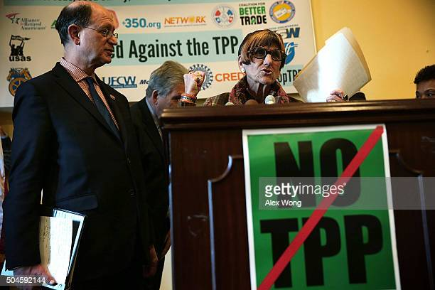 S Rep Rosa DeLauro speaks as Rep Brad Sherman listens during a news conference January 11 2016 on Capitol Hill in Washington DC House Democrats held...