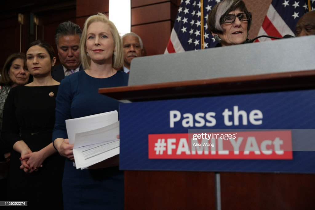 """Sen. Kirsten Gillibrand (D-NY) And Rep. Rosa DeLauro (D-CT) Reintroduce """"Family And Medical Insurance Leave Act"""" : News Photo"""