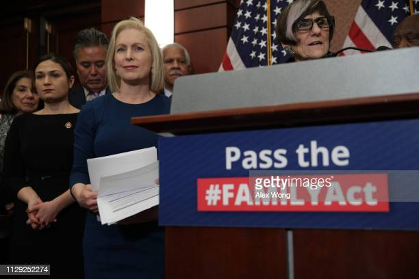 S Rep Rosa DeLauro speaks as Sen Kirsten Gillibrand listens during a news conference February 12 2019 on Capitol Hill in Washington DC Gillibrand and...