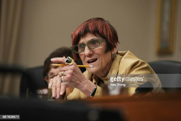 S Rep Rosa DeLauro speaks during a hearing before the Labor Health and Human Services Education and Related Agencies Subcommittee of the House...