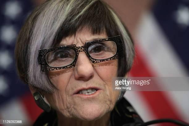 S Rep Rosa DeLauro speaks during a news conference February 12 2019 on Capitol Hill in Washington DC DeLauro and Sen Kirsten Gillibrand held a news...