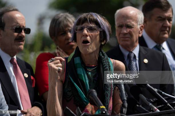 Rep Rosa DeLauro speaks during a news conference on immigration to condemn the Trump Administration's 'zero tolerance' immigration policy outside the...