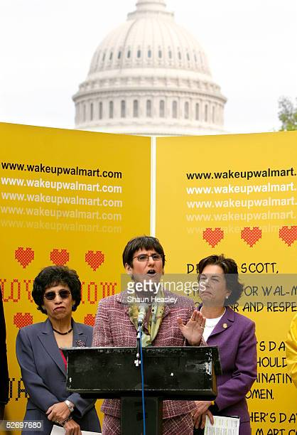 S Rep Rosa DeLauro speaks out against WalMart with Linda ChavezThompson executive director of the AFLCIO and Rep Jan Schakowsky at the Canon House...