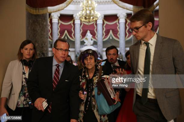S Rep Rosa DeLauro speaks to members of the media June 27 2019 at the US Capitol in Washington DC The House has passed a Senate version of a $45...