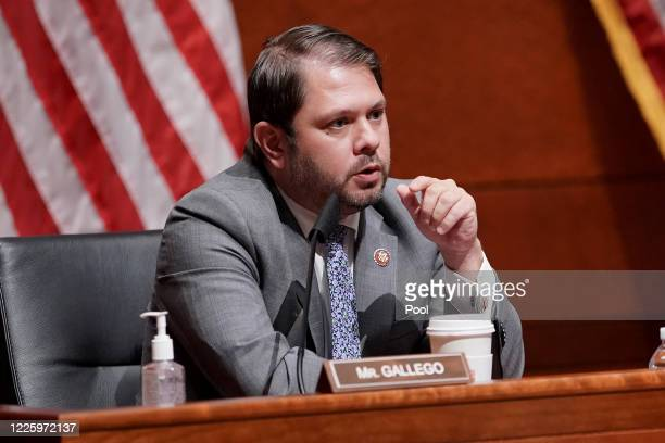 Rep Ruben Gallego attends a House Armed Services Committee hearing on July 9 2020 in Washington DC Secretary of Defense Mark Esper and Joint Chiefs...