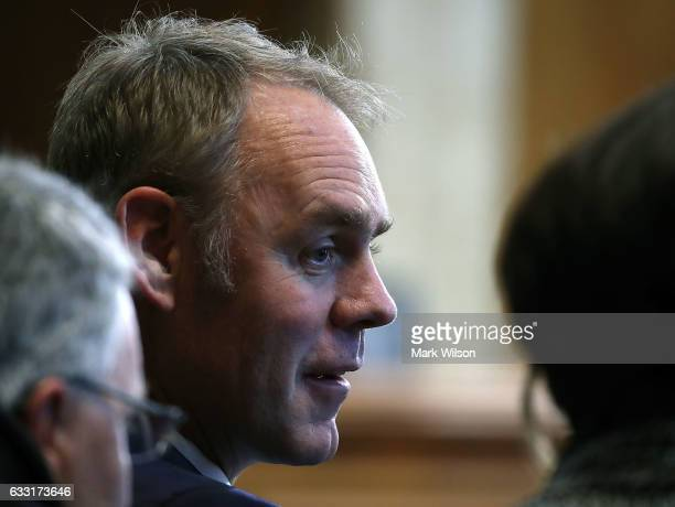 Rep Ryan Zinke attends a Senate Energy and Natural Resources committee hearing on Capitol Hill January 31 2017 in Washington DC The committee met to...