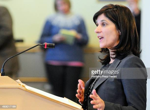 """Rep. Sara Gideon, D-Gideon, introduces her bill LD 1686 """"An Act To Address Preventable Deaths from Drug Overdose"""" during a hearing before the Health..."""