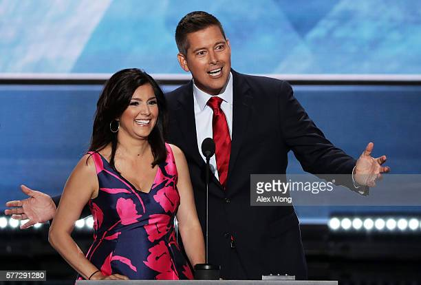 S Rep Sean Duffy along with his wife Rachel CamposDuffy deliver a speech on the first day of the Republican National Convention on July 18 2016 at...