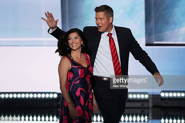 S Rep Sean Duffy along with his wife Rachel CamposDuffy walk on stage to deliver a speech on the first day of the Republican National Convention on...