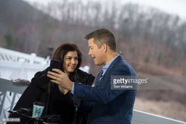 Rep Sean Duffy RWis and his wife Rachel CamposDuffy film a video at the media center during the House and Senate Republican retreat at The Greenbrier...