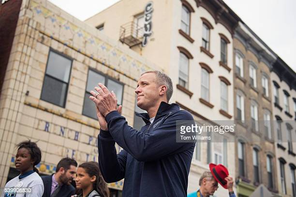 Rep Sean Patrick Maloney DNY listens to the National Anthem before a the 'Think Differently Dash' that benefits people with disabilities in...