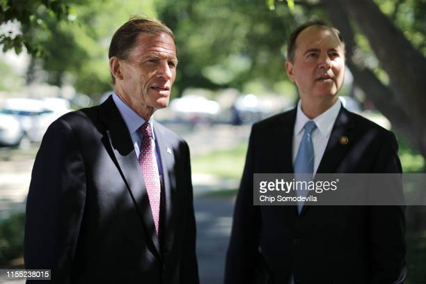 Rep Sen Richard Blumenthal and Rep Adam Schiff prepare for a news conference to discuss the Equal Access to Justice for Victims of Gun Violence Act...