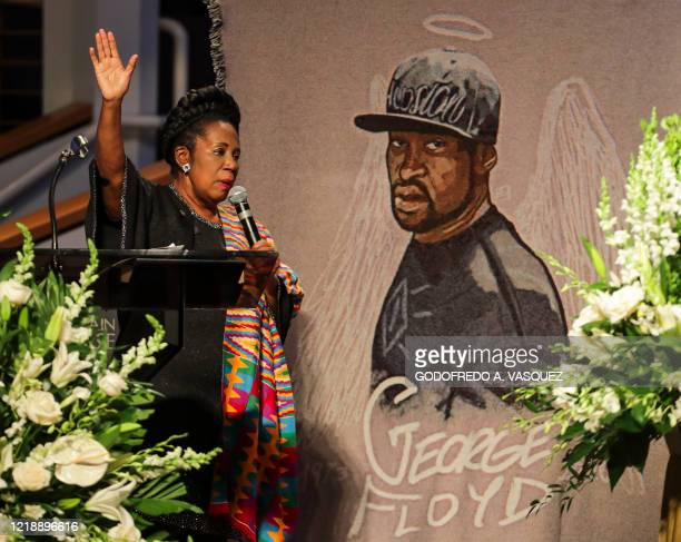 Rep Sheila Jackson Lee speaks as family and guests attend the funeral service for George Floyd at The Fountain of Praise church on June 9 in Houston...