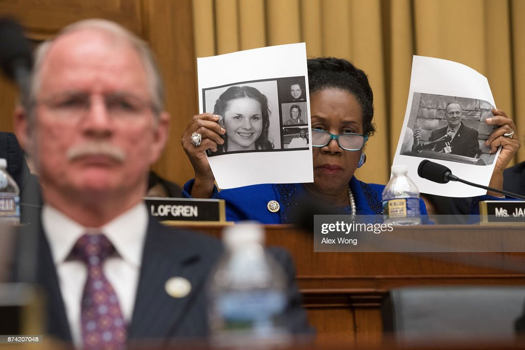 U.S. Rep. Sheila Jackson-Lee (D-TX) (R) speaks on the Roy Moore sexual misconduct accusations during a hearing before the House Judiciary Committee November 14, 2017 in Washington, DC. Sessions is expected to face questions from lawmakers again on whether he had contacts with Russians during the presidential campaign last year.