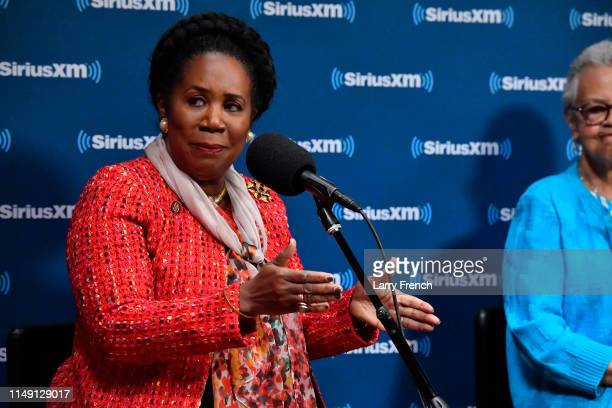 Rep Shelia Jackson Lee appears in a discussion on the work of the Congressional Black Caucus at SiriusXM Studio on May 14 2019 in Washington DC