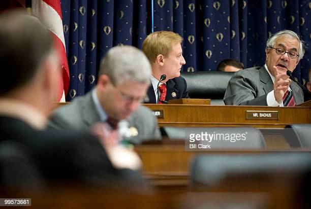 Rep Spencer Bachus RAla listens as chairman Barney Frank speaks during the House Financial Services Committee markup hearing on Tuesday Oct 27 2009