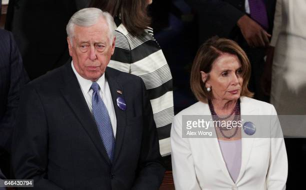 S Rep Steny Hoyer and House Minority Leader Nancy Pelosi arrive to a joint session of the US Congress with US President Donald Trump on February 28...