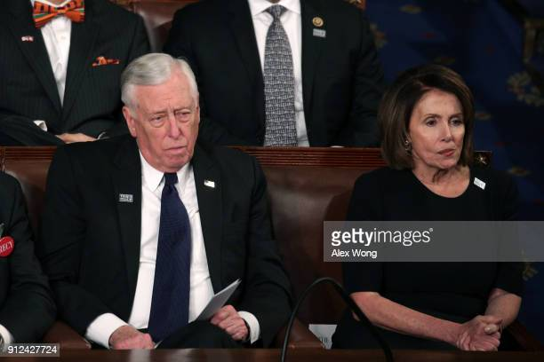 S Rep Steny Hoyer and US House Minority Leader Nancy Pelosi watch during the State of the Union address in the chamber of the US House of...