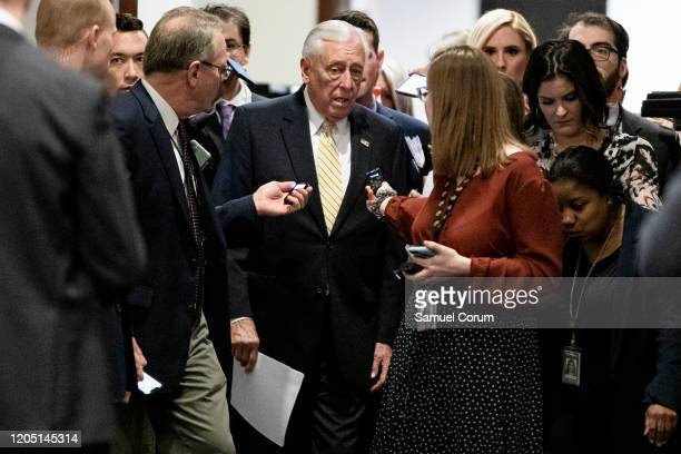 Rep Steny Hoyer heads to a closeddoor briefing from Vice President Mike Pence and Anthony Fauci Director of the National Institute of Allergy and...