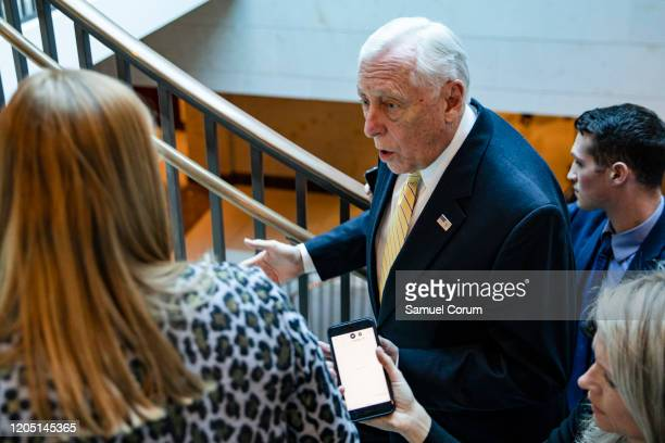 Rep Steny Hoyer leaves a closeddoor briefing from Vice President Mike Pence and Anthony Fauci Director of the National Institute of Allergy and...