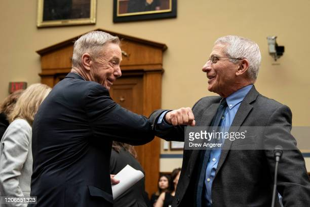 Rep Stephen Lynch and Dr Anthony Fauci Director National Institute of Allergy and Infectious Diseases at National Institutes of Health greet each...