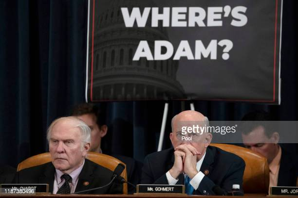 Rep Steve Chabot and Rep Louie Gohmert listen to testimony by lawyers for the House Judiciary Committee Barry Berke representing the majority...