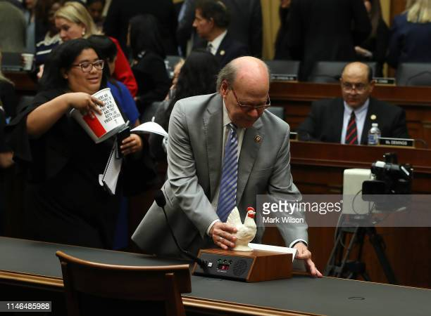 Rep Steve Cohen puts a plastic chicken where Attorney General William Barr would have been seated if he appeared before the House Judiciary Committee...
