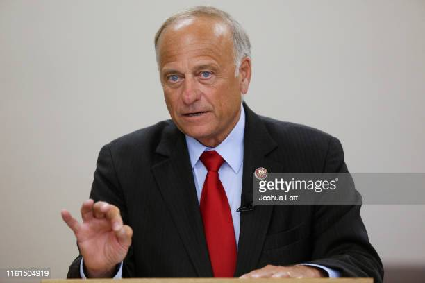 Rep. Steve King speaks during a town hall meeting at the Ericson Public Library on August 13, 2019 in Boone, Iowa. Steve King, who was stripped of...